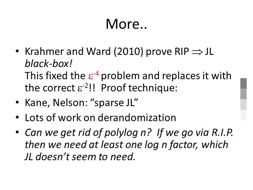 More.. Krahmer and Ward (2010) prove RIP JL black-box.