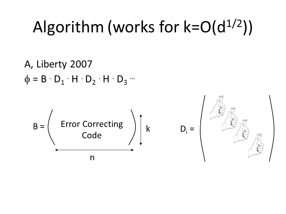 Algorithm (works for k=O(d 1/2 )) A, Liberty 2007 = B.