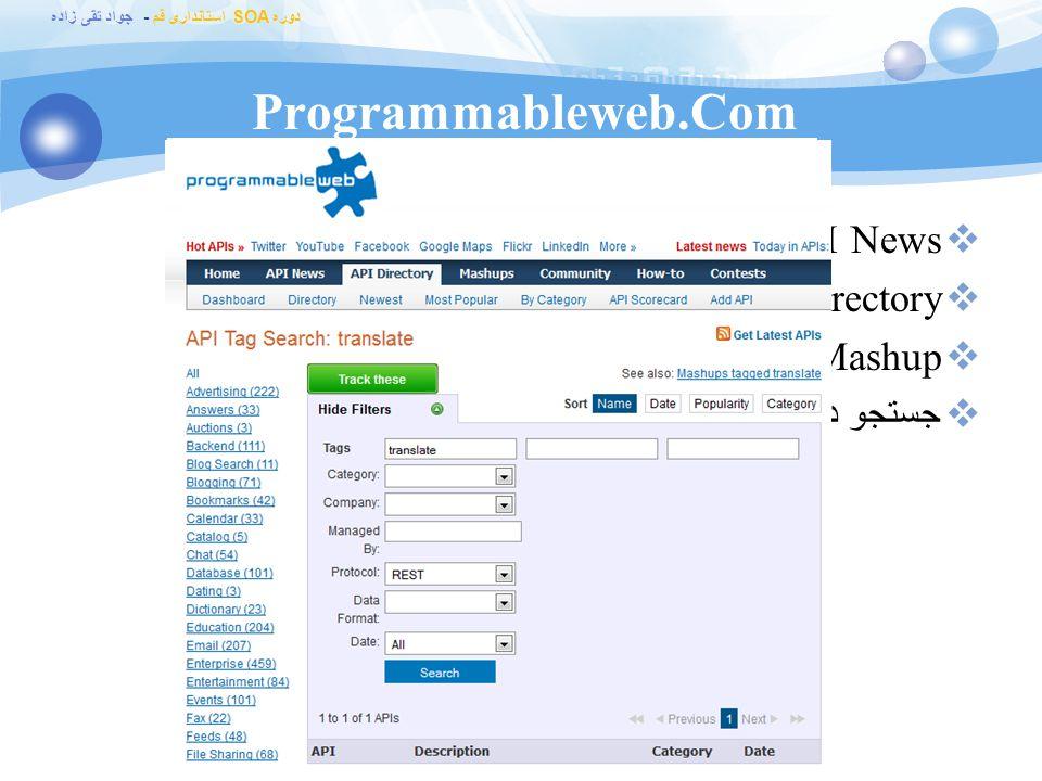 دوره SOA استانداری قم - جواد تقی زاده Programmableweb.Com نگهداری API های مدل مختلف : –AIM (OSCAR) –Atom –Blogger –DTC-XML –GData –hCalendar –iCal –JavaScript –JSON-RPC –REST –RSS –SMS –SOAP –XML-RPC –XMP