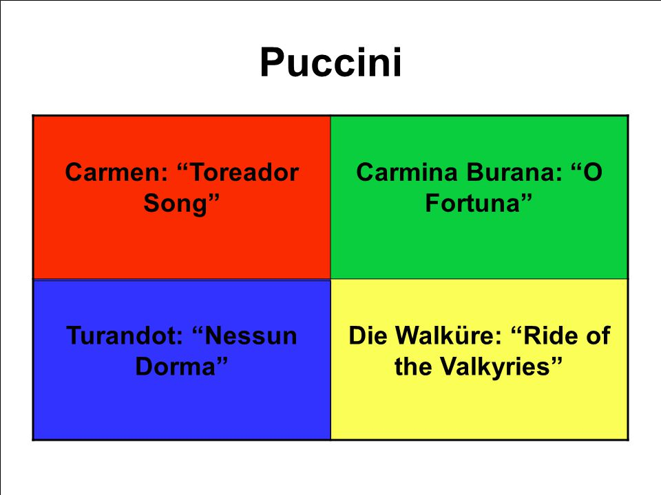Puccini Carmen: Toreador Song Carmina Burana: O Fortuna Turandot: Nessun Dorma Die Walküre: Ride of the Valkyries