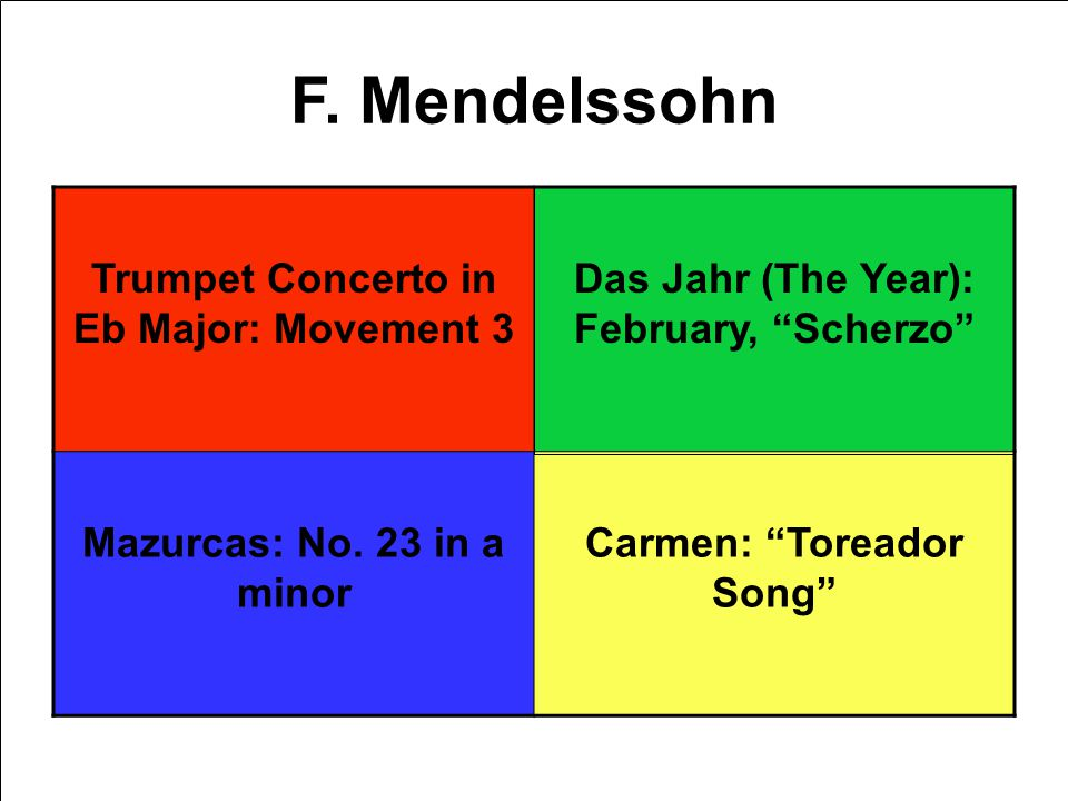 F. Mendelssohn Trumpet Concerto in Eb Major: Movement 3 Das Jahr (The Year): February, Scherzo Mazurcas: No. 23 in a minor Carmen: Toreador Song
