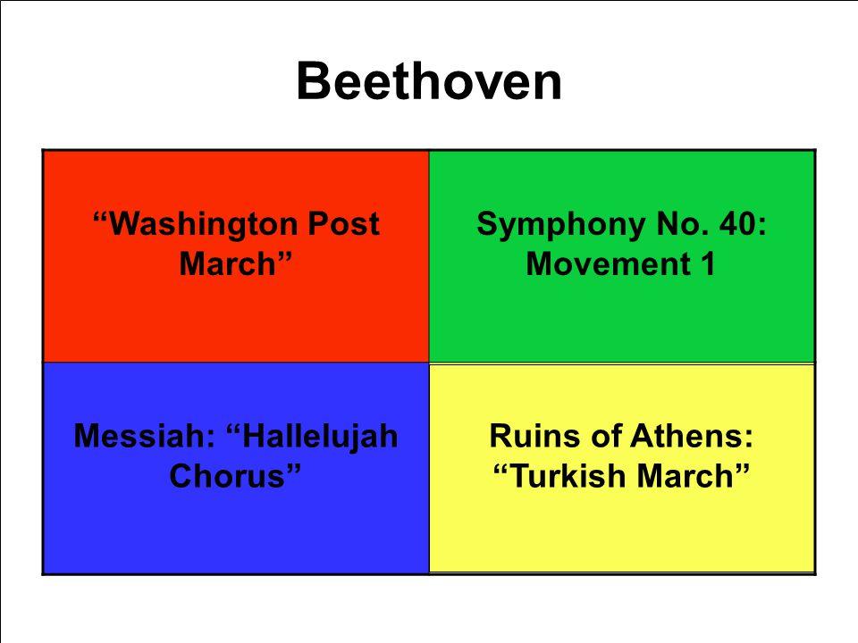 Beethoven Washington Post March Symphony No. 40: Movement 1 Messiah: Hallelujah Chorus Ruins of Athens: Turkish March