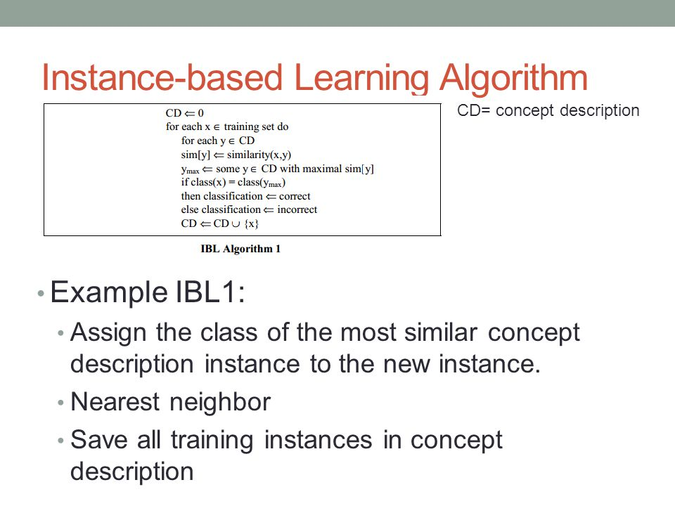 Instance-based Learning Algorithm Example IBL1: Assign the class of the most similar concept description instance to the new instance.