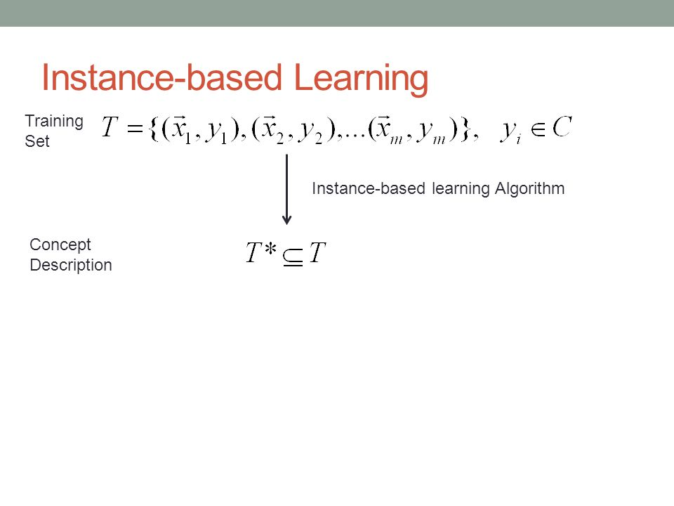 Instance-based Learning Training Set Instance-based learning Algorithm Concept Description