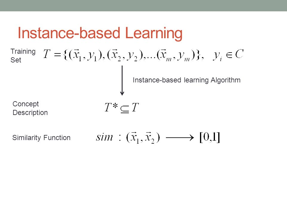 Instance-based Learning Training Set Instance-based learning Algorithm Concept Description Similarity Function