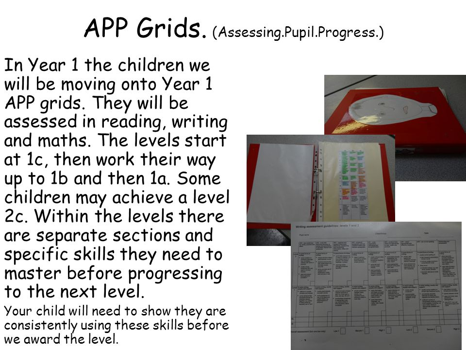 APP Grids. (Assessing.Pupil.Progress.) In Year 1 the children we will be moving onto Year 1 APP grids. They will be assessed in reading, writing and m