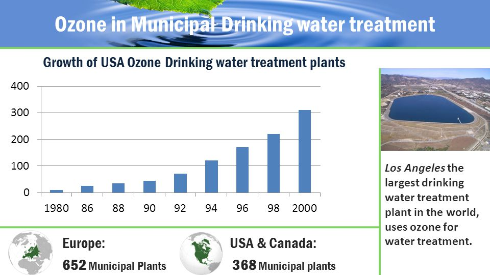 Ozone in Municipal Drinking water treatment Los Angeles the largest drinking water treatment plant in the world, uses ozone for water treatment.