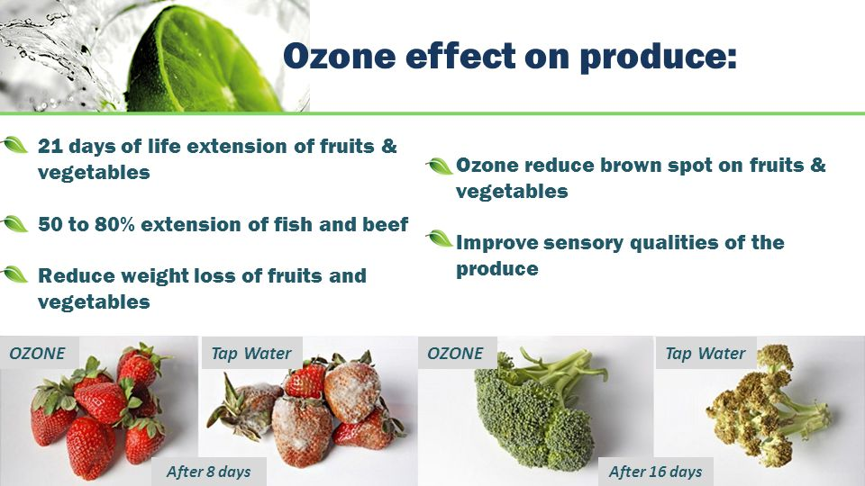 Ozone effect on produce: 21 days of life extension of fruits & vegetables 50 to 80% extension of fish and beef Reduce weight loss of fruits and vegetables Ozone reduce brown spot on fruits & vegetables Improve sensory qualities of the produce OZONE Tap Water After 8 daysAfter 16 days