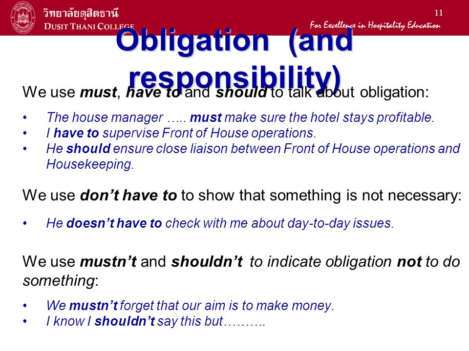 11 Obligation (and responsibility) We use must, have to and should to talk about obligation: The house manager ….. must make sure the hotel stays prof