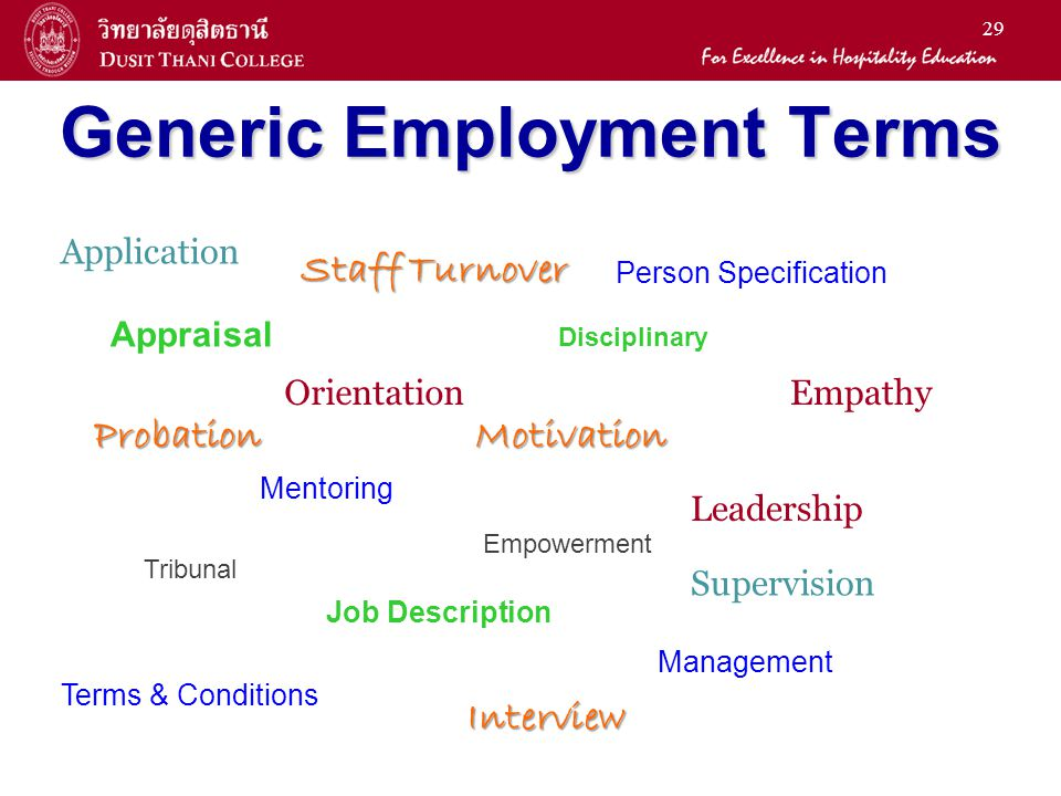 29 Generic Employment Terms Appraisal Orientation Staff Turnover Disciplinary Tribunal Motivation Empowerment Empathy Leadership Probation Mentoring M