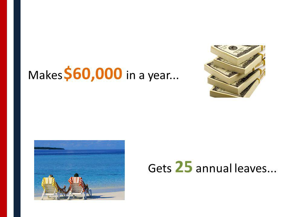 Makes $60,000 in a year... Gets 25 annual leaves...