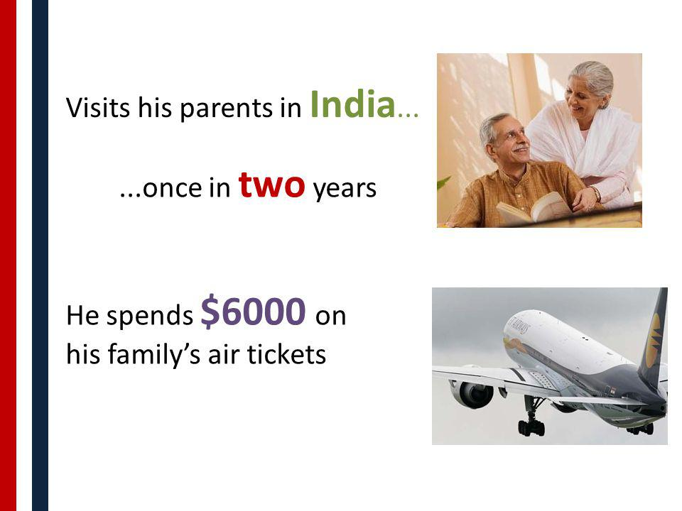 Visits his parents in India......once in two years He spends $6000 on his familys air tickets