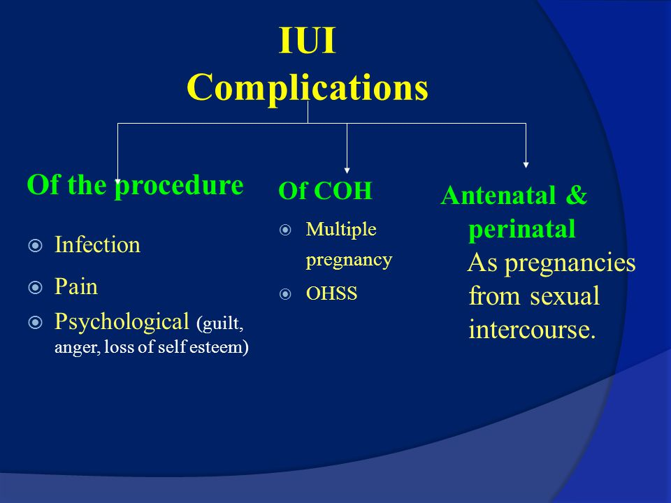 Advantages of IUI Non invasive (like Pap smear). Bypass possible cervical mucous hostility. Easy: performance and training Minimal: cost and risk