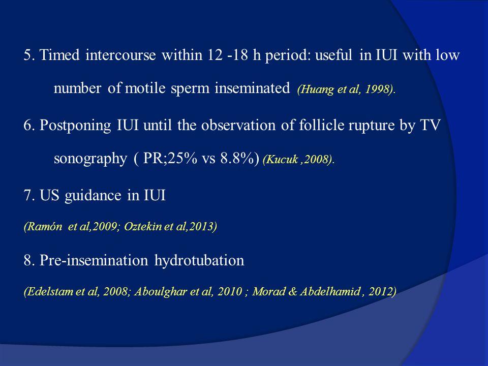 How to improve IUI results? Measures to PR: 1. COH: all except sever male factor ( Risks???) (Cohlen,2002). 2. Vaginal misoprostol.???? (Brown et al,2