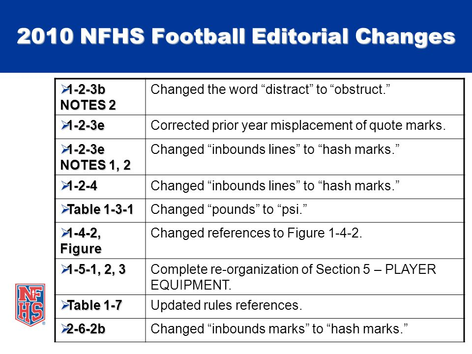 2010 NFHS Football Editorial Changes 1-2-3b NOTES 2 1-2-3b NOTES 2 Changed the word distract to obstruct.
