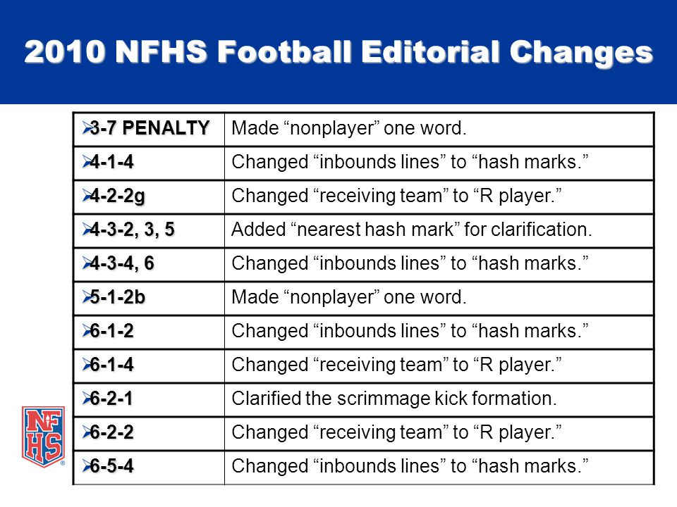2010 NFHS Football Editorial Changes 3-7 PENALTY 3-7 PENALTYMade nonplayer one word.
