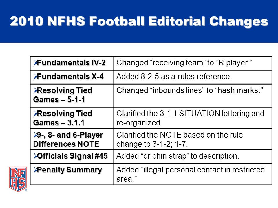 2010 NFHS Football Editorial Changes Fundamentals IV-2 Fundamentals IV-2Changed receiving team to R player.