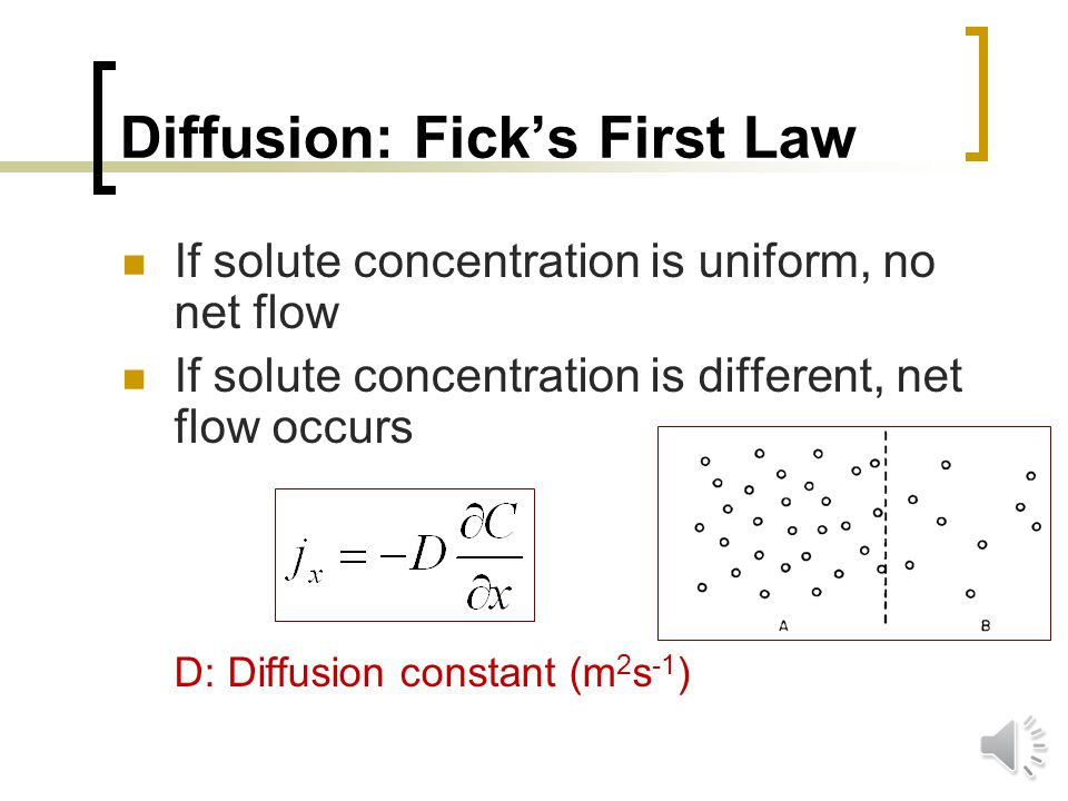 Diffusion: Ficks First Law Diffusion: random movement of particles from a region of higher concentration to a region of lower concentration Diffusing particles move independently Solvent at rest Solute transport