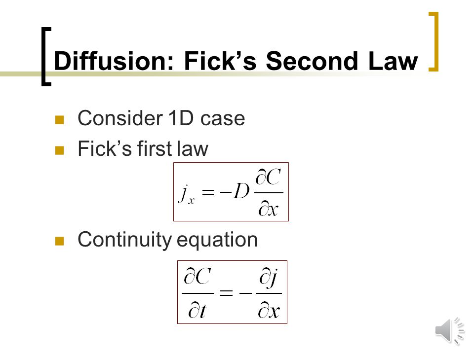 Diffusion: Ficks First Law