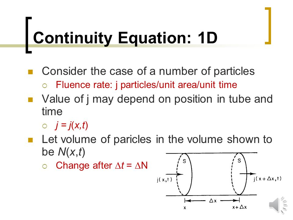 Continuity Equation: 1D We deal with substances that do not appear or disappear Conserved Conservation of mass leads to the derivation of the continuity equation