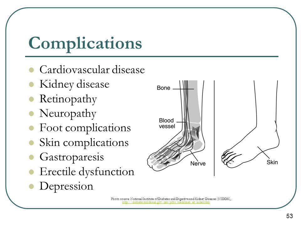 53 Complications Cardiovascular disease Kidney disease Retinopathy Neuropathy Foot complications Skin complications Gastroparesis Erectile dysfunction