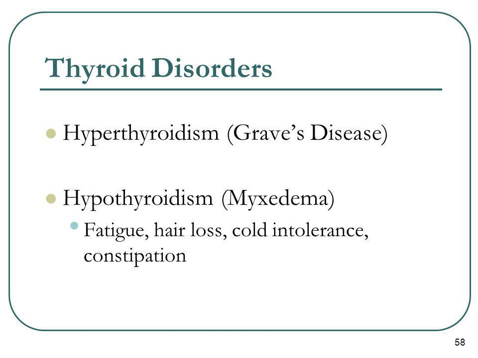 58 Thyroid Disorders Hyperthyroidism (Graves Disease) Hypothyroidism (Myxedema) Fatigue, hair loss, cold intolerance, constipation