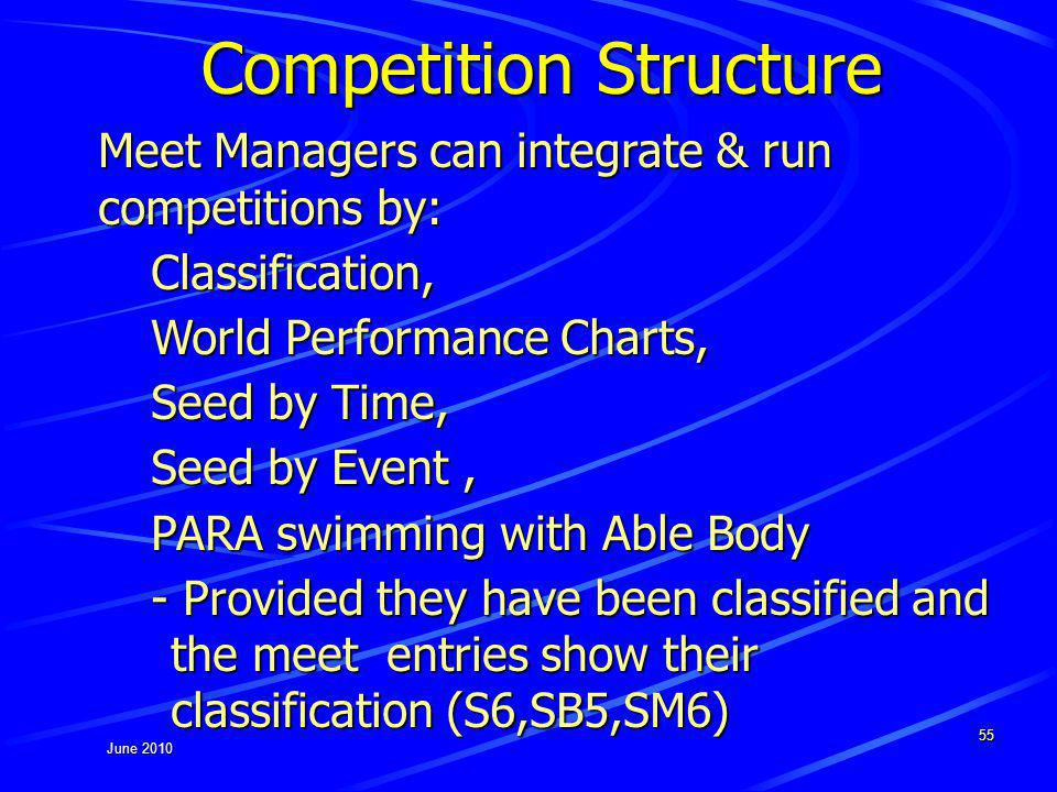 June 2010 55 Competition Structure Meet Managers can integrate & run competitions by: Classification, World Performance Charts, Seed by Time, Seed by Event, PARA swimming with Able Body - Provided they have been classified and the meet entries show their classification (S6,SB5,SM6)