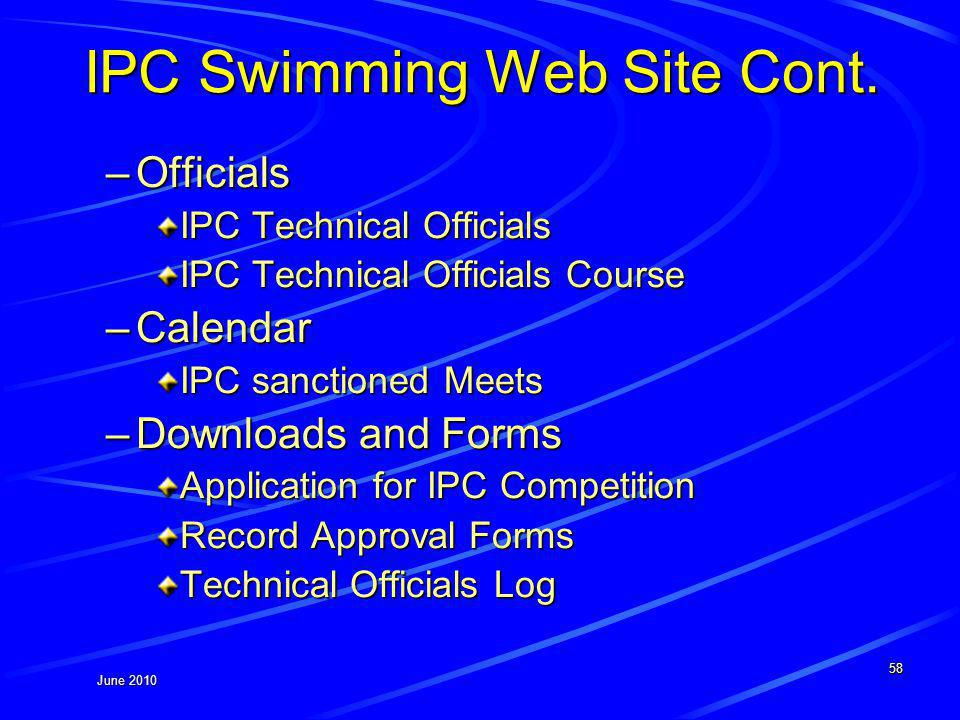 June 2010 IPC Swimming Web Site Cont.