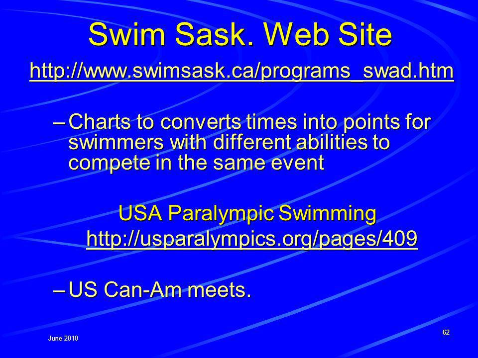 June 2010 Swim Sask. Web Site http://www.swimsask.ca/programs_swad.htm –Charts to converts times into points for swimmers with different abilities to