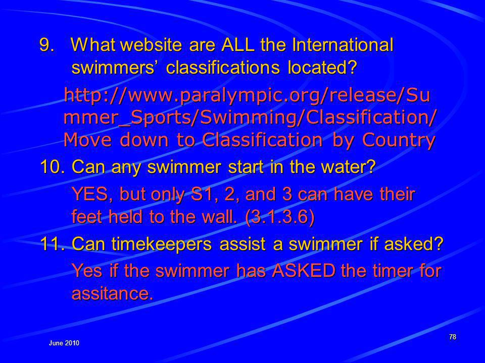 June 2010 9. What website are ALL the International swimmers classifications located.