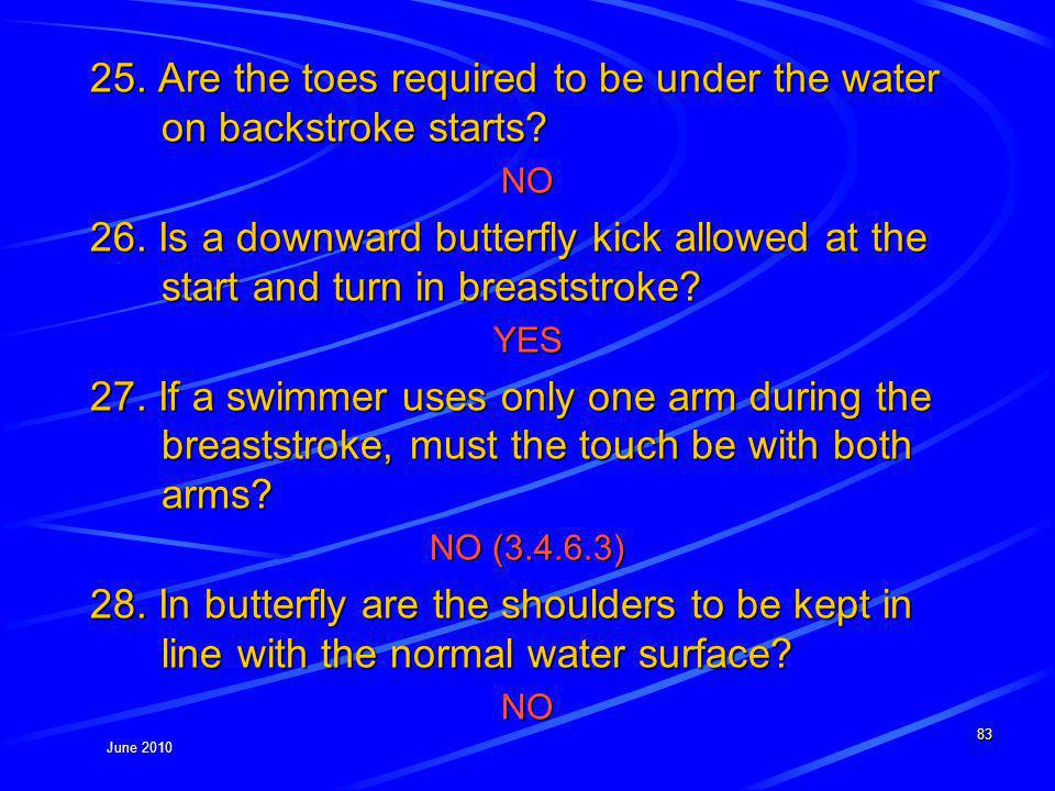 June 2010 25. Are the toes required to be under the water on backstroke starts.