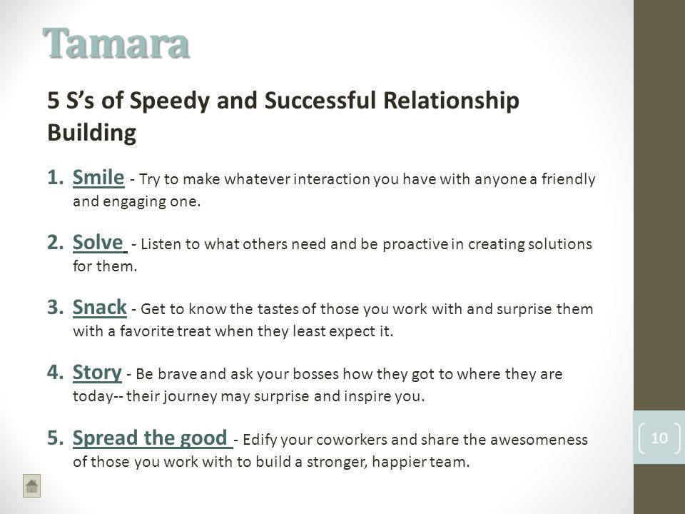 Tamara 10 5 Ss of Speedy and Successful Relationship Building 1.Smile - Try to make whatever interaction you have with anyone a friendly and engaging one.