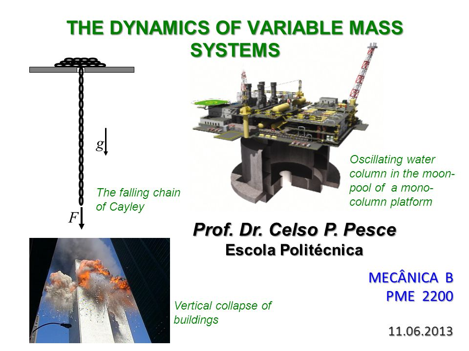 THE DYNAMICS OF VARIABLE MASS SYSTEMS MECÂNICA B PME 2200 11.06.2013 Prof. Dr. Celso P. Pesce Escola Politécnica F g Oscillating water column in the m