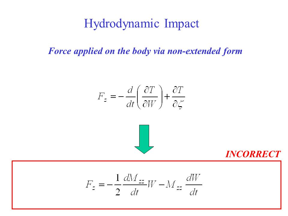 Hydrodynamic Impact Force applied on the body via non-extended form INCORRECT