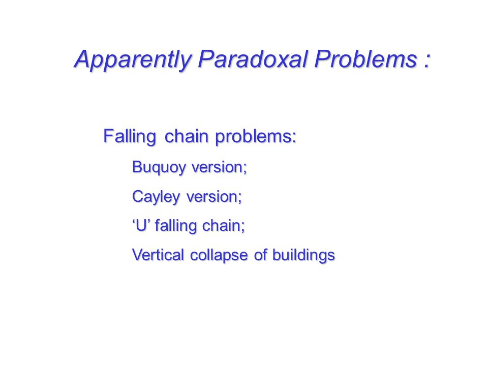 Apparently Paradoxal Problems : Falling chain problems: Buquoy version; Buquoy version; Cayley version; Cayley version; U falling chain; U falling cha