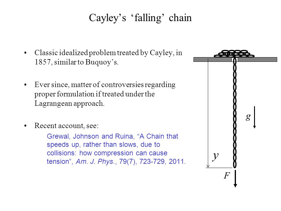 Cayleys falling chain Classic idealized problem treated by Cayley, in 1857, similar to Buquoys. Ever since, matter of controversies regarding proper f