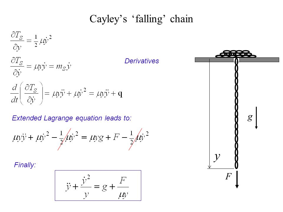 Cayleys falling chain Derivatives Extended Lagrange equation leads to: Finally: F g y