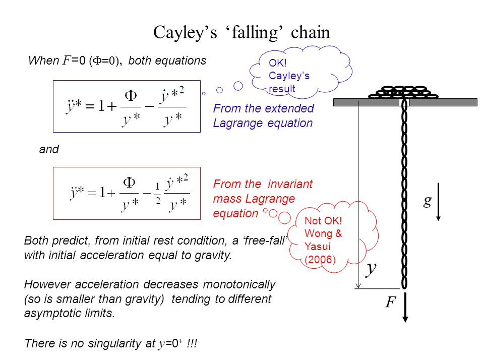 Cayleys falling chain When F = 0 ( both equations and Both predict, from initial rest condition, a free-fall with initial acceleration equal to gravit