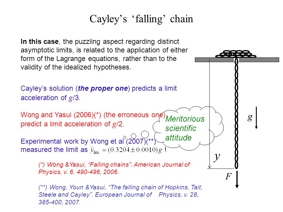 Cayleys falling chain In this case, the puzzling aspect regarding distinct asymptotic limits, is related to the application of either form of the Lagr