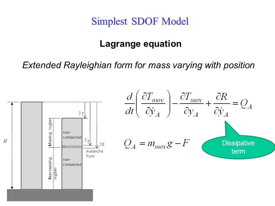 Simplest SDOF Model Extended Rayleighian form for mass varying with position Lagrange equation Dissipative term