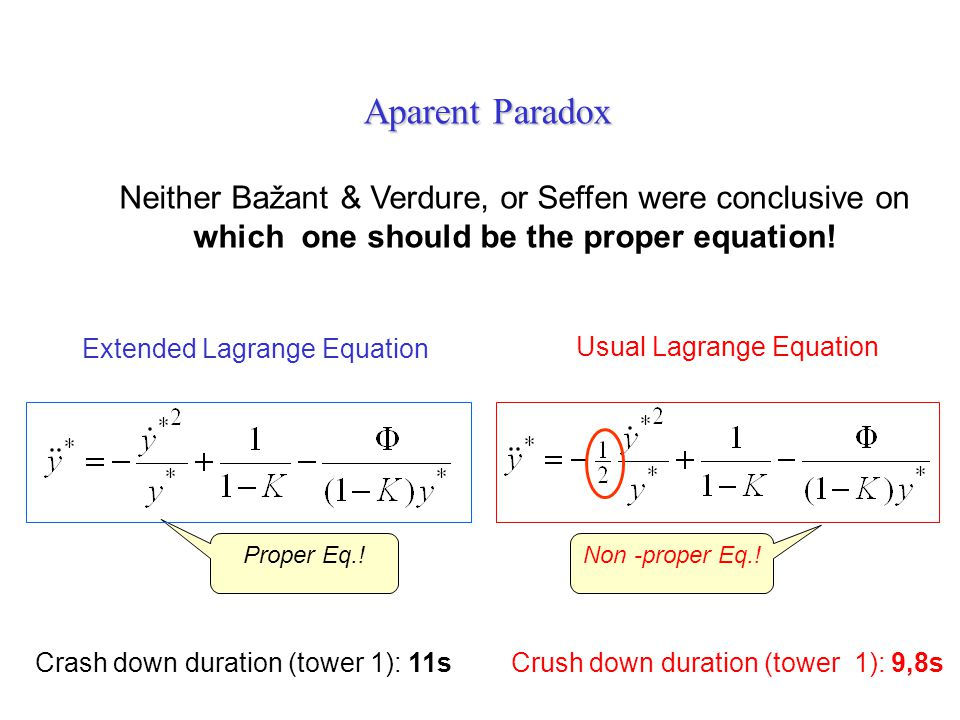 Extended Lagrange Equation Crush down duration (tower 1): 9,8sCrash down duration (tower 1): 11s Aparent Paradox Neither Bažant & Verdure, or Seffen w