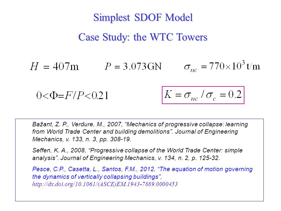 Simplest SDOF Model Case Study: the WTC Towers Bažant, Z. P., Verdure, M., 2007, Mechanics of progressive collapse: learning from World Trade Center a