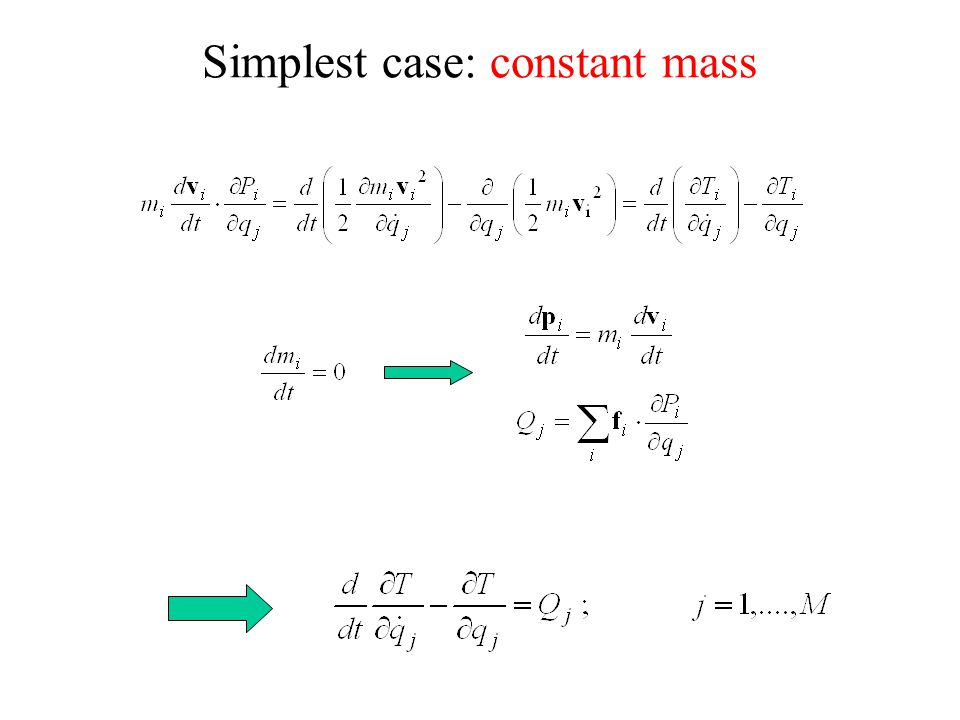 Simplest case: constant mass