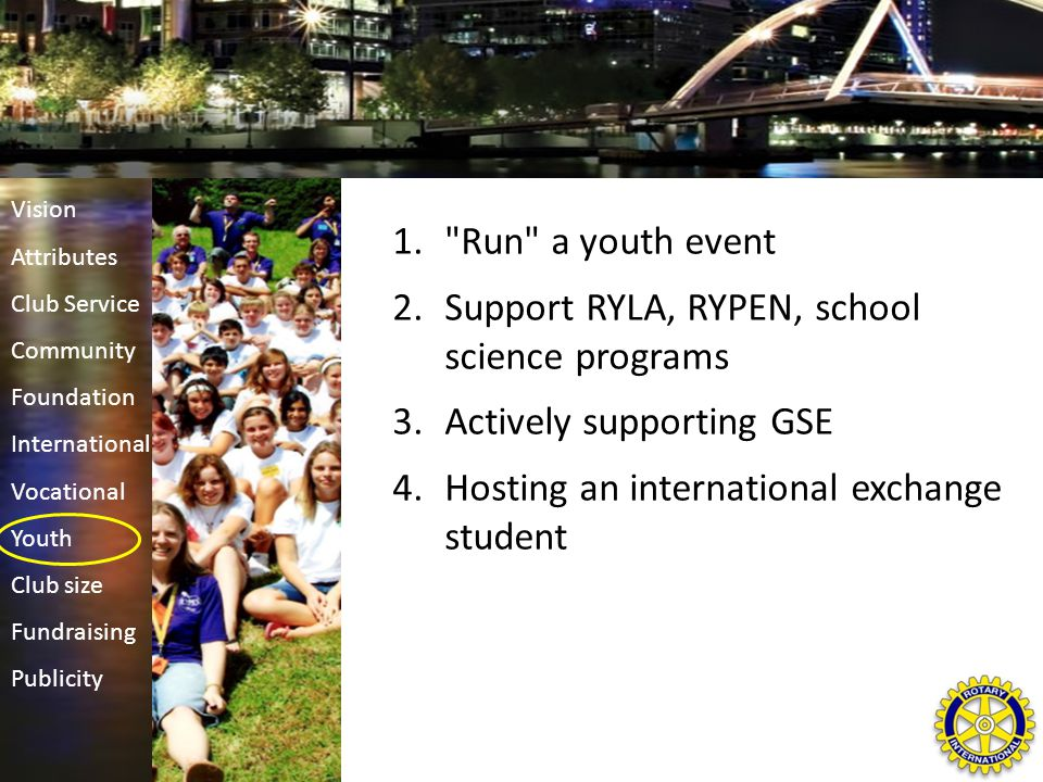 1. Run a youth event 2.Support RYLA, RYPEN, school science programs 3.Actively supporting GSE 4.Hosting an international exchange student Vision Attributes Club Service Community Foundation International Vocational Youth Club size Fundraising Publicity