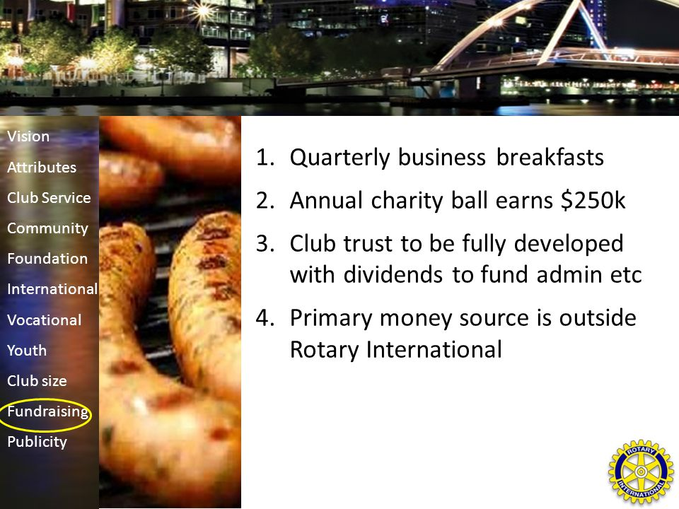 1.Quarterly business breakfasts 2.Annual charity ball earns $250k 3.Club trust to be fully developed with dividends to fund admin etc 4.Primary money