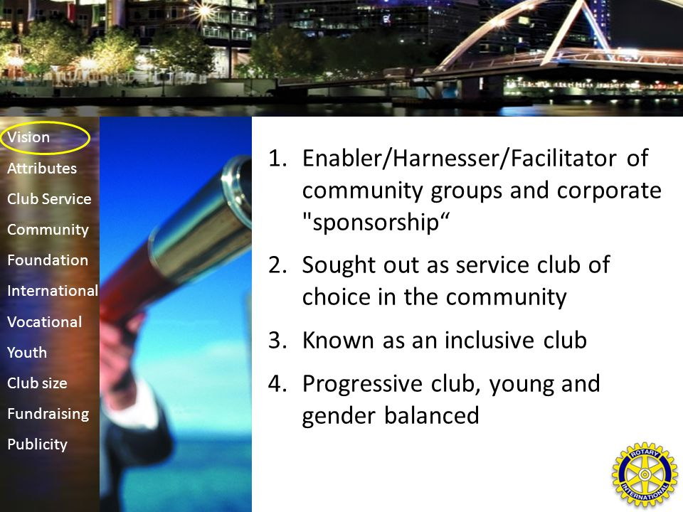 1.Enabler/Harnesser/Facilitator of community groups and corporate sponsorship 2.Sought out as service club of choice in the community 3.Known as an inclusive club 4.Progressive club, young and gender balanced Vision Attributes Club Service Community Foundation International Vocational Youth Club size Fundraising Publicity