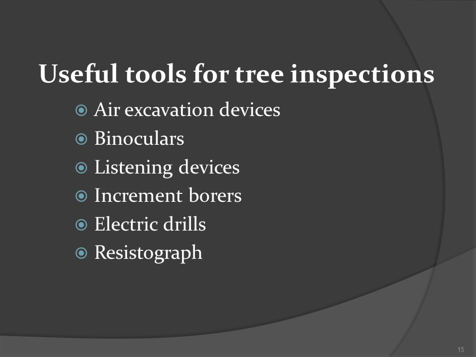 Useful tools for tree inspections Air excavation devices Binoculars Listening devices Increment borers Electric drills Resistograph 15