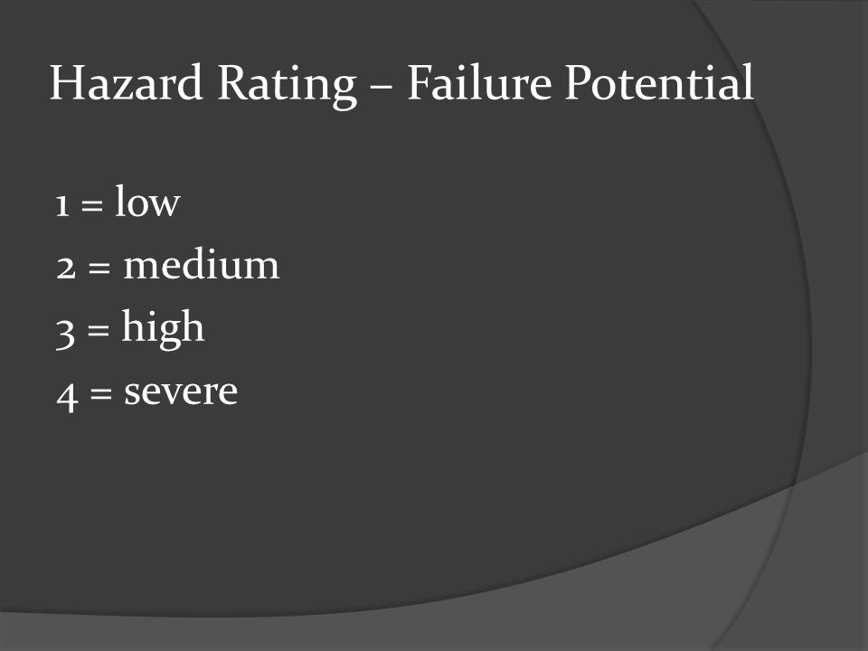 Hazard Rating – Failure Potential 1 = low 2 = medium 3 = high 4 = severe