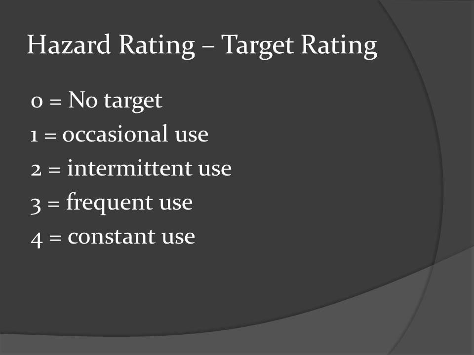 Hazard Rating – Target Rating 0 = No target 1 = occasional use 2 = intermittent use 3 = frequent use 4 = constant use