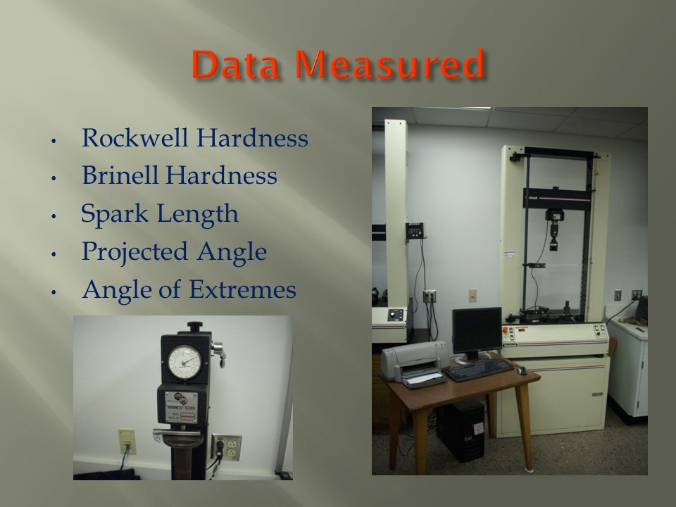 Rockwell Hardness Brinell Hardness Spark Length Projected Angle Angle of Extremes